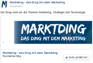 Facebook Werbeanzeige für Marktding