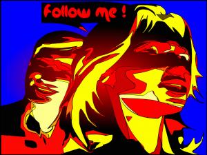 """Führungskraft mit Follower und Sprechblase """"Follow me"""""""