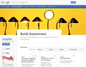 Screenshot Googel Think Insights, KAtegorie 'Marketing Objectives'