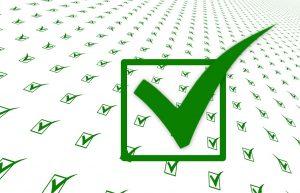 Grüne Haken als Checks für Eisenhower-Matrix