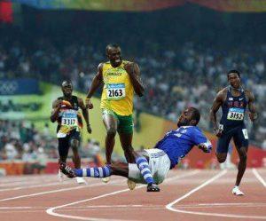 Fotomontage Hans Sarpei graetscht Usain Bolt