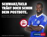 Werbeplakat mit Hans Sarpei - Schwarz-gelb trägt doch schon der Postbote