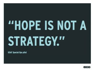 geschriebener Text: Hope is not a strategy