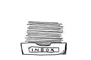 Zeichnung einer Inbox mit Papierstapel