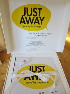 Die Schachtel von JustAway mit dem zeriten Teil zum Bloggermarketing