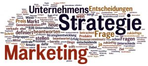 Der Text des Beitrags zu Marketing und Strategie als Wortwolke