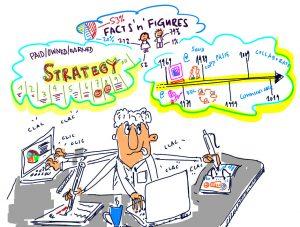 Grafik eines Managers am Schreibtisch mit Telefon und Computer