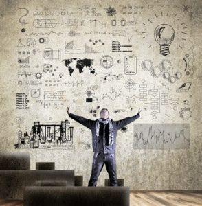 Der Marketing-RoI als Wand voller Skizzen, Lösungen und Ideen