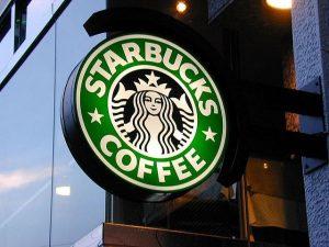 Starbuckslogo als Leuchtschild
