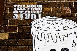 Mauer mit Grafitti-Aufdruck Storytelling