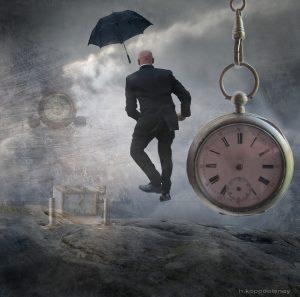 Mann und Uhr al Versendezeitpunkt