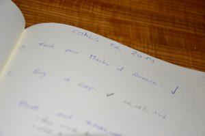 aufgeschriebene Ziele auf Notzibuchseite
